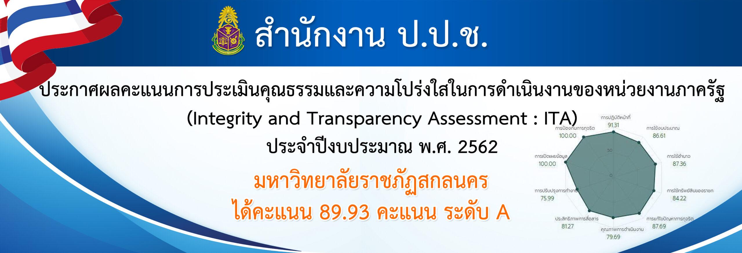 ประกาศผลคะแนนการประเมินคุณธรรมและความโปร่งใสในการดำเนินงานของหน่วยงานภาครัฐ ประจำปีงบประมาณ พ.ศ. 2562